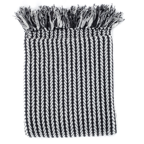 charcoal striped throw with fringe and a contemporary design