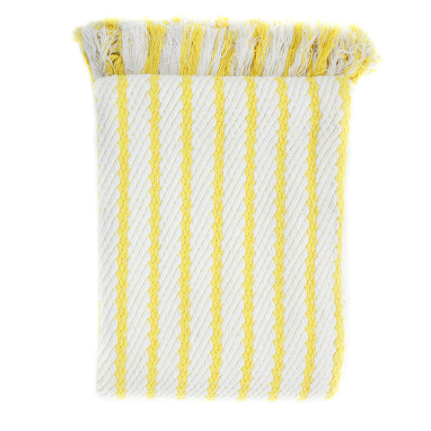 yellow striped accent throw with fringe and contemporary design