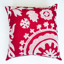 Load image into Gallery viewer, Embroidered Red 22x22 Accent Pillow