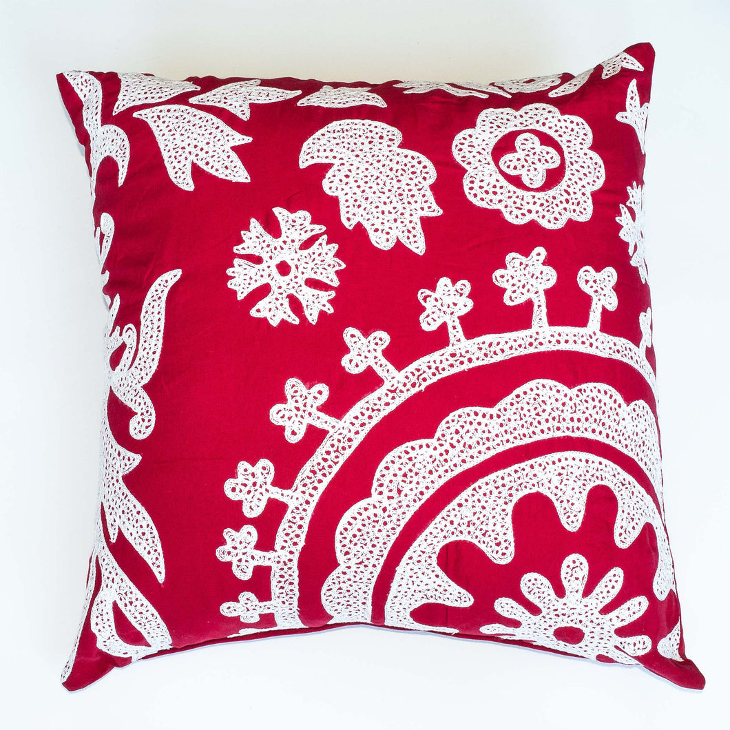 Embroidered Red 22x22 Accent Pillow