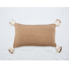 Load image into Gallery viewer, designer lumbar neutral camel pillow with tassels
