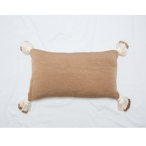 designer lumbar neutral camel pillow with tassels