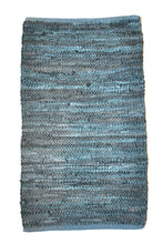 Load image into Gallery viewer, teal-leather-small-accent-rug