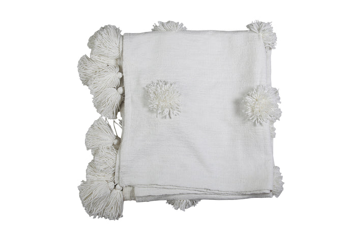 White Pom Pom Throw