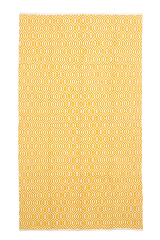 Yellow Diamond Pattern Accent Area Rug