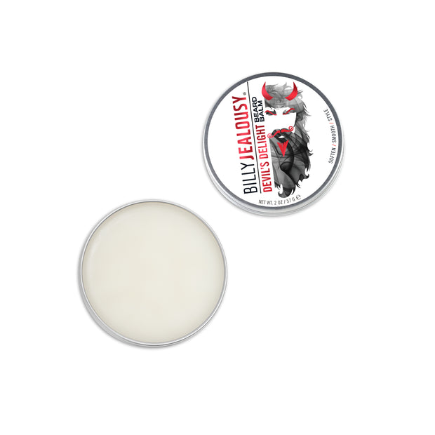 (Product image): open 2oz aluminum tin of Devil's Delight beard balm. Product inside is white and waxy.