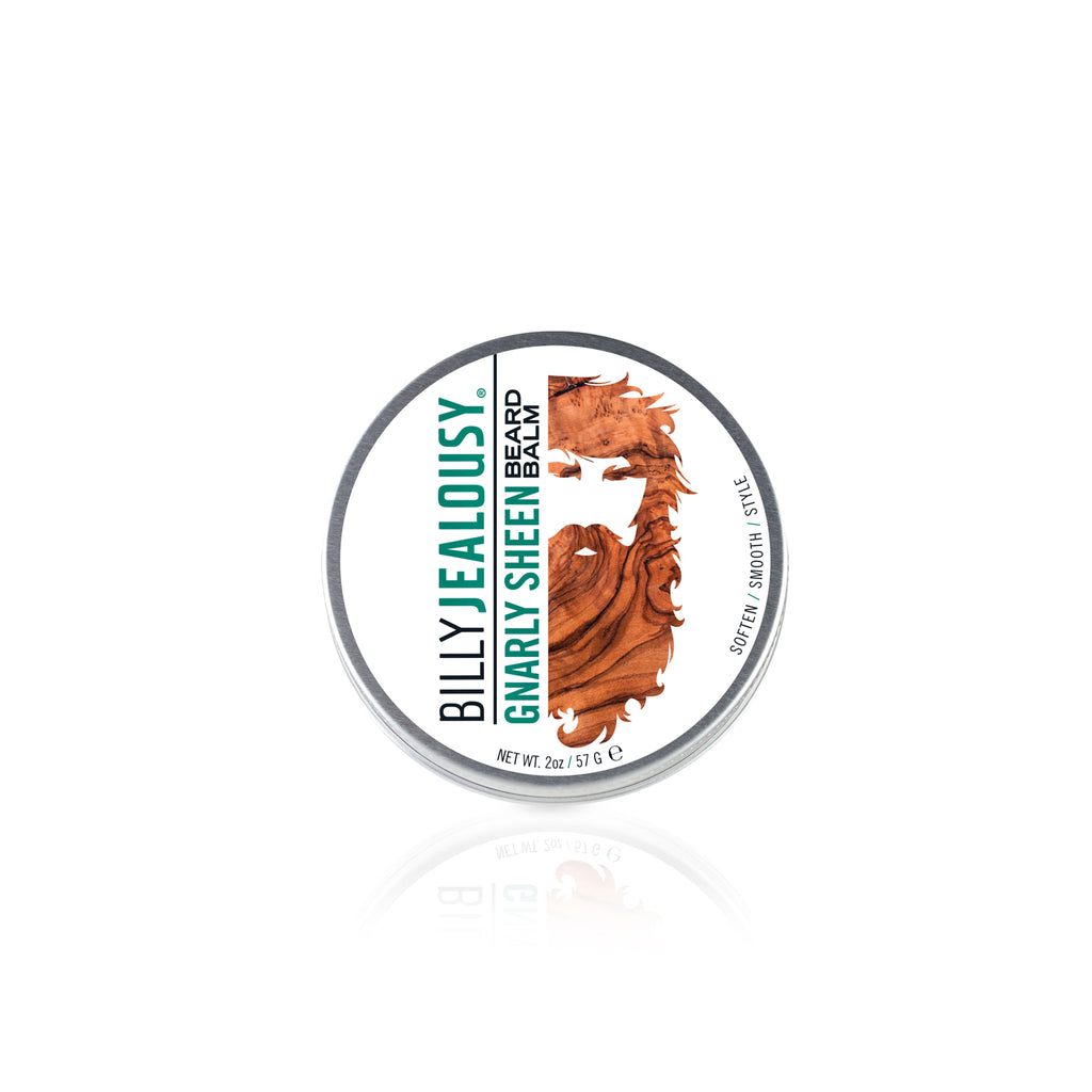 (Product image): 2oz aluminum tin of Gnarly Sheen beard balm.