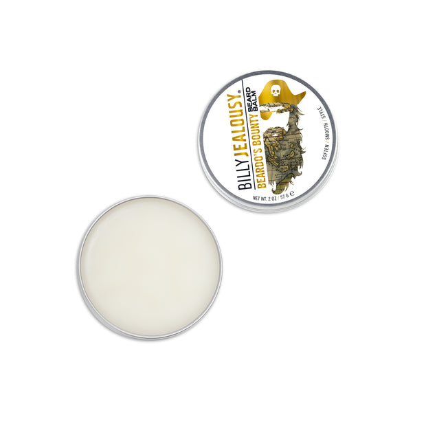 (Product image): open 2oz aluminum tin of Beardo's Bounty beard balm. Product inside is white and waxy.