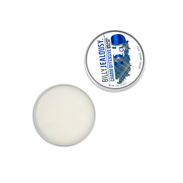 (Product image): open 2oz aluminum tin of Charm Offensive beard balm. Product inside is white and waxy.