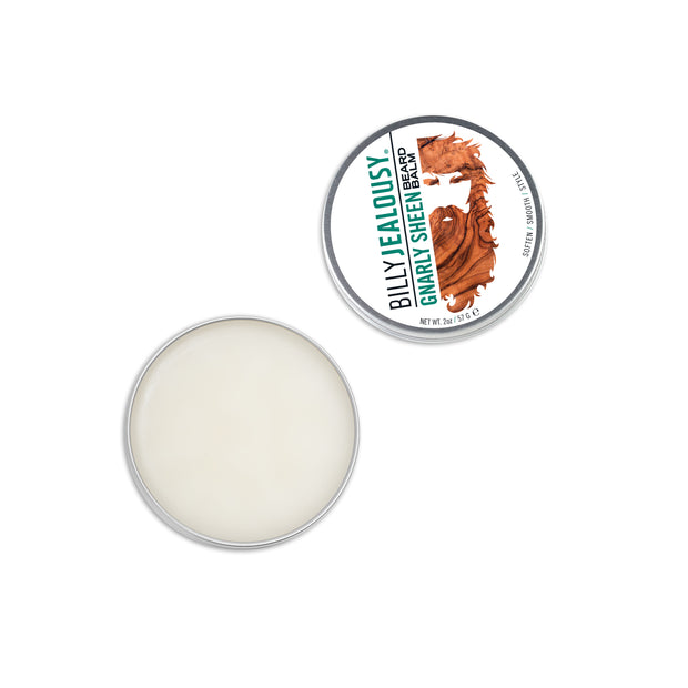 (Product image): open 2oz aluminum tin of Gnarly Sheen beard balm. Product inside is white and waxy.