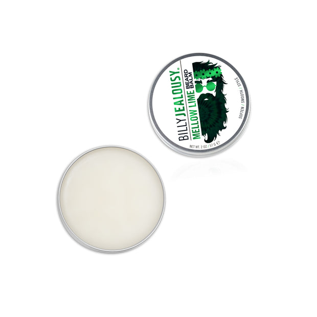 (Product image): open 2oz aluminum tin of Mellow Lime beard balm. Product inside is white and waxy.