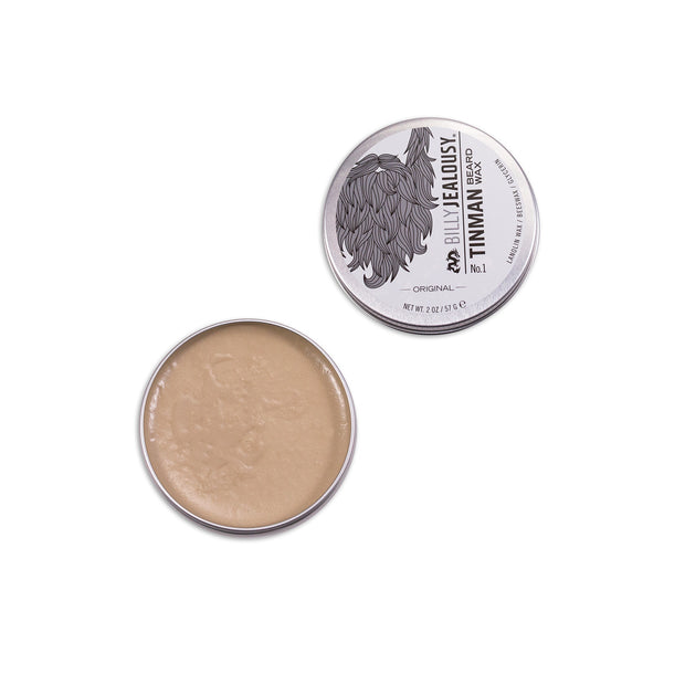 (Product image): open 2oz aluminum tin of Tin Man beard wax.