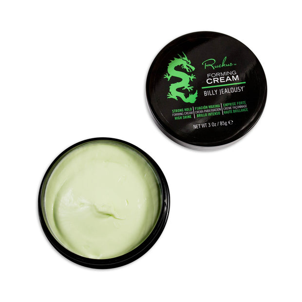 (Product image): Open 3oz jar of Ruckus forming cream.