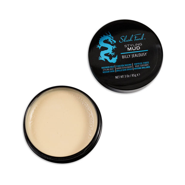 (Product image): Open 3oz jar of Slush Fund Styling Mud.