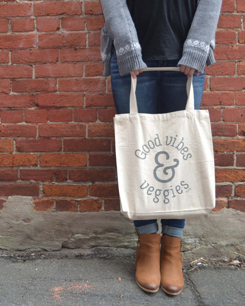 Good Vibes & Veggies Canvas Tote Bag | The Nutritious Nerd