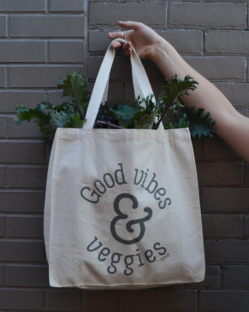 Good Vibes & Veggies Canvas Tote | The Nutritious Nerd