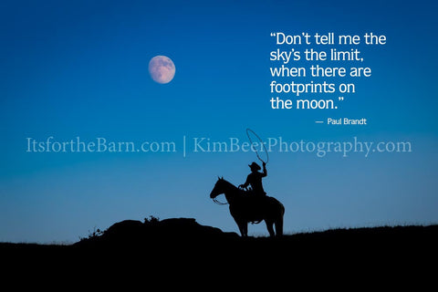 Don't tell me the sky's the limit, when there are no footprints on the moon.