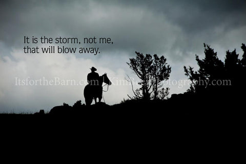 It is the storm, not me, that will blow away.