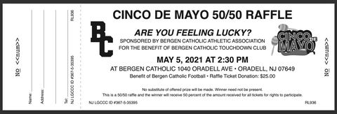 Bergen Catholic Football Cinco De Mayo 50/50 Raffle