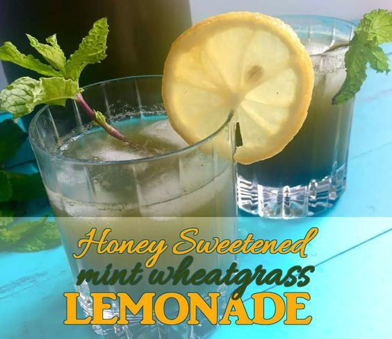 Honey-Sweetened Wheatgrass Mint Lemonade