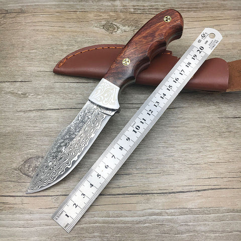 Handmade forged Damascus hunting knife fixed knife  ebony handle
