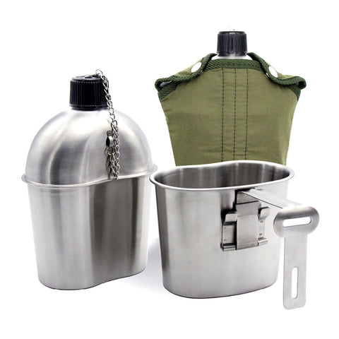 Stainless Steel Military Canteen 1L Portable with 0.5 L Cup