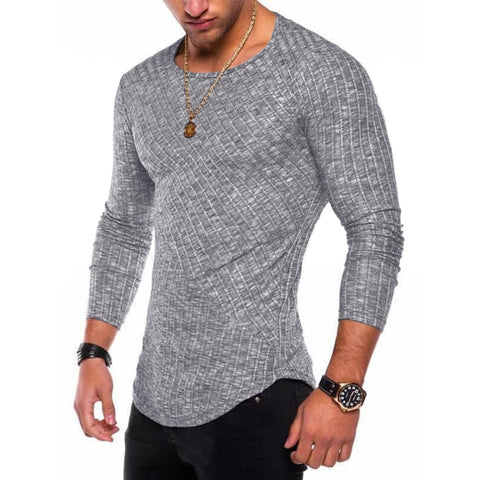 Men Long Sleeve T Shirt Casual Elastic Fit 6 colors