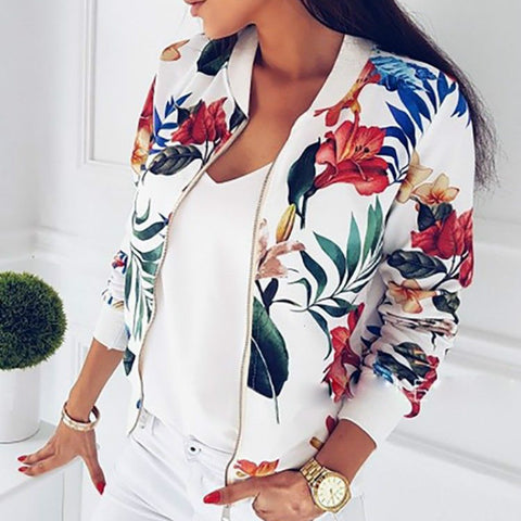Floral Zipper Bomber Jacket
