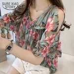 printed casual short sleeved blouses loose M-4xl