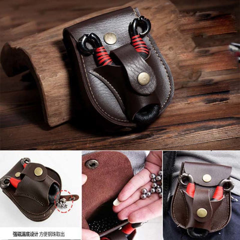 Leather Case Pouch for Slingshot and Steel Balls Shot
