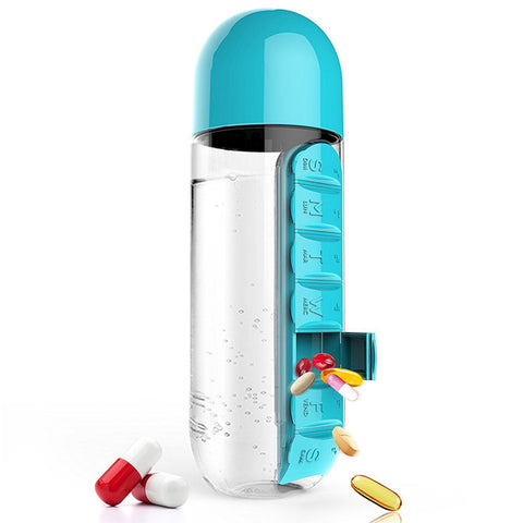 Plastic Water Bottle With Daily Pill Box 5 colors