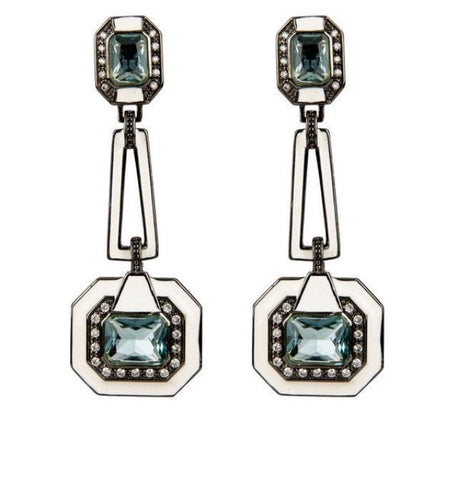 enamel blue black rhodium earrings