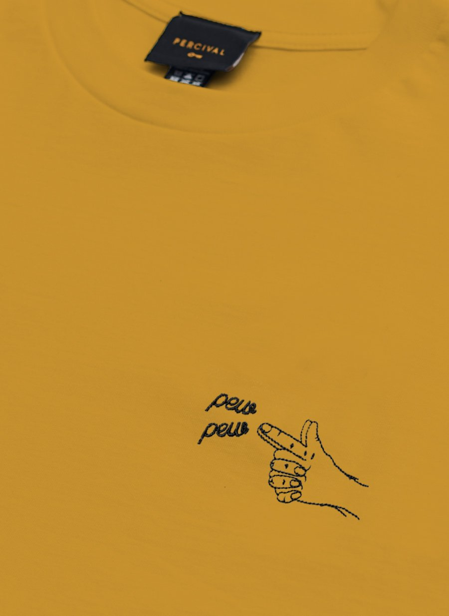 T Shirt | Pew Pew Embroidery | Yellow