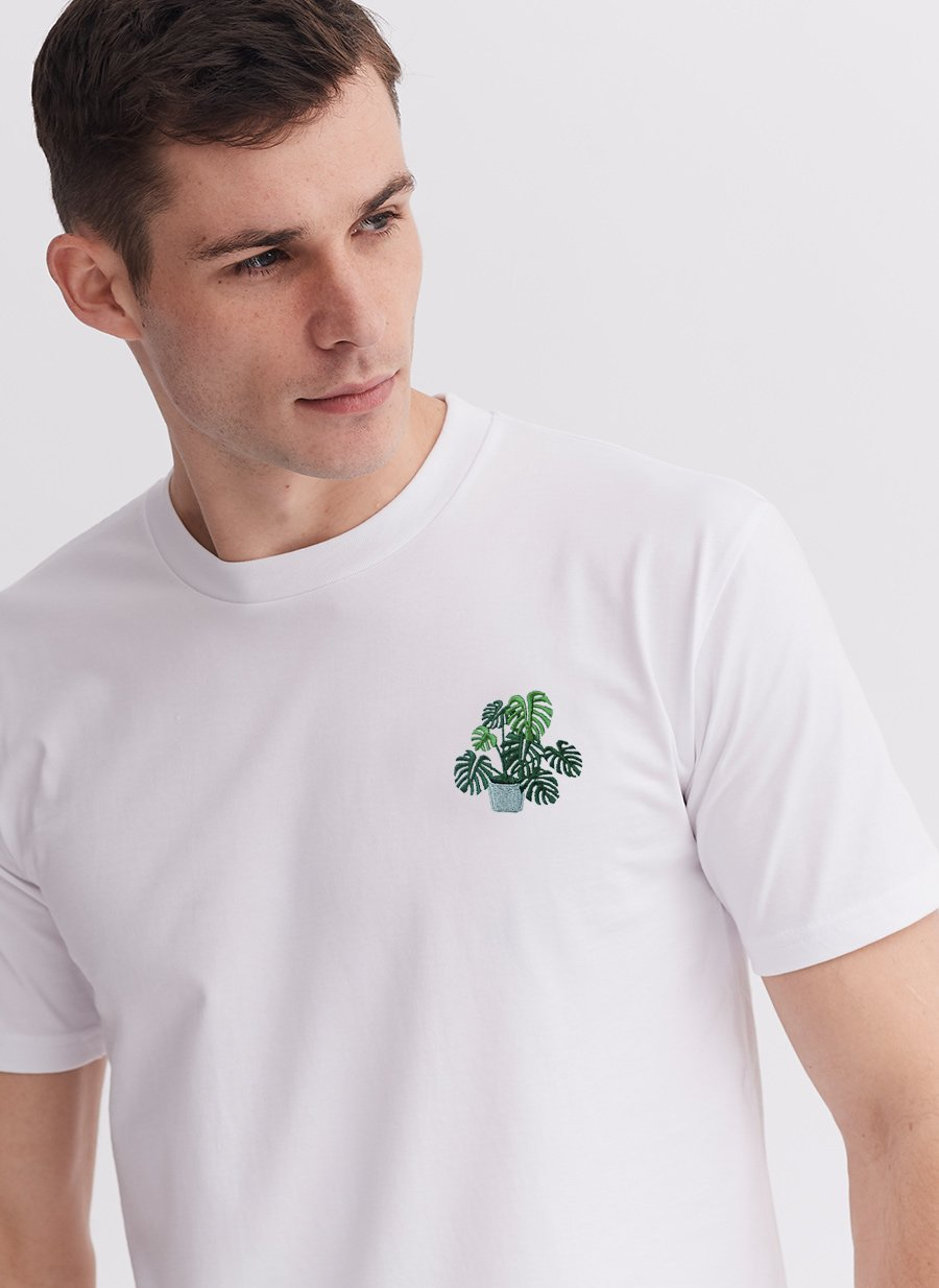 T Shirt | Monstera Embroidery | White
