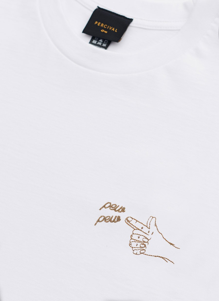 T Shirt | Pew Pew Embroidery | White