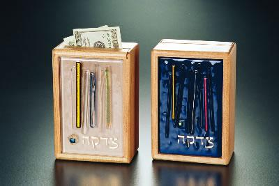 Alder Wood Tzedakah Box by Beames Designs-tzedakah box-AllThingsJewish.com
