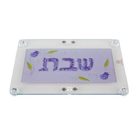 Blue Wheat Glass Challah Tray by Lily Art-challah board-AllThingsJewish.com