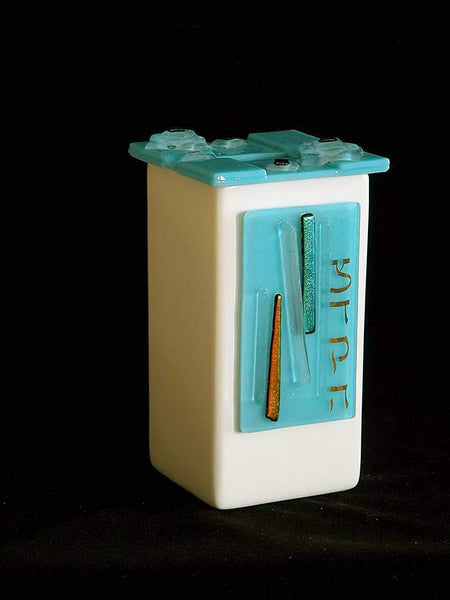 Ceramic and Glass Tzedakah Box by Beames Designs-tzedakah box-AllThingsJewish.com