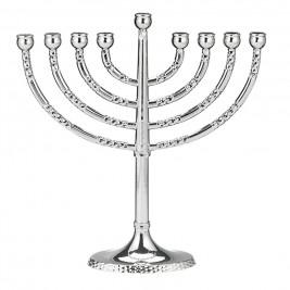 Classic Silver Menorah with Hammered Accents-menorah-AllThingsJewish.com