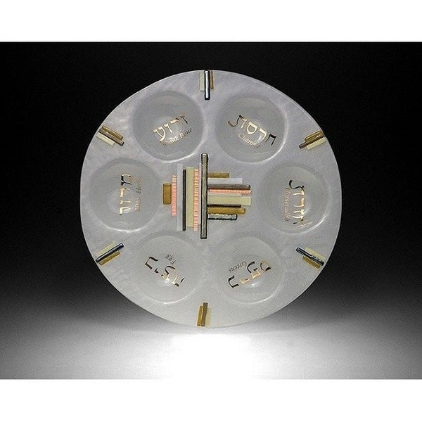 Duo Linear Amber/ Gold Seder Plate by Beames Designs-seder plate-AllThingsJewish.com
