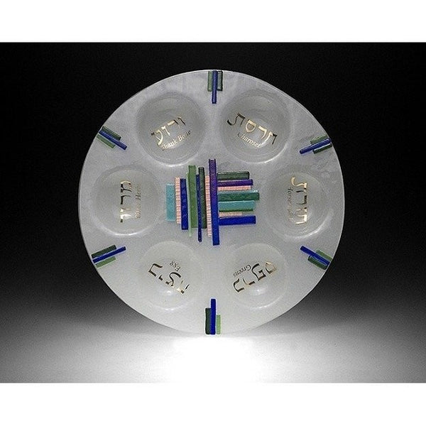 Duo Linear Blue/ Green Seder Plate by Beames Designs-seder plate-AllThingsJewish.com