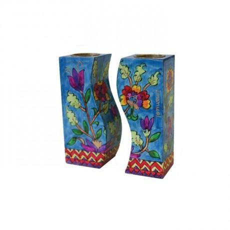 Floral Fitted Shabbat Candlesticks by Yair Emanuel-shabbat candlesticks-AllThingsJewish.com