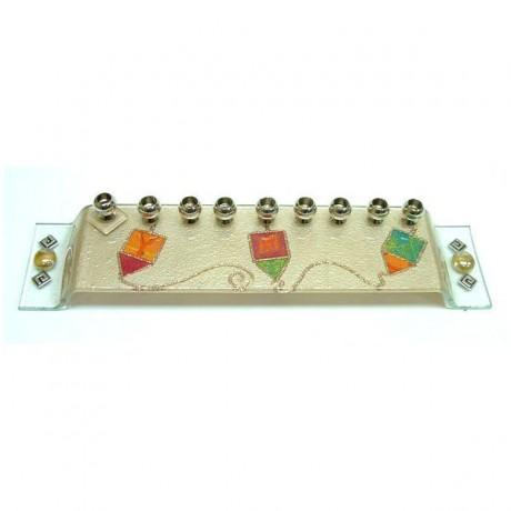 Glass Dreidel Menorah by Lily Art-menorah-AllThingsJewish.com