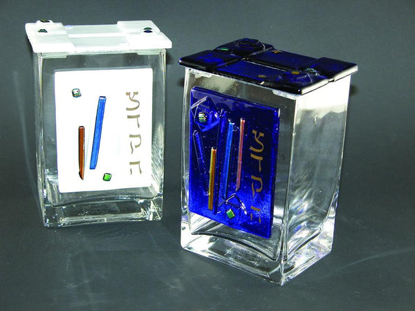 Glass Tzedakah Box with Blue/ White Streamers by Beames Designs-tzedakah box-AllThingsJewish.com