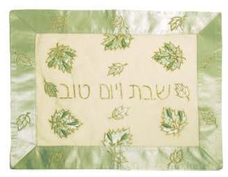 Green Silk Challah Cover with Gold Trim Leaves-challah cover-AllThingsJewish.com