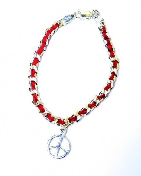 Peace Sing Red String Bendel Bracelet by Alef Bet-jewelry-AllThingsJewish.com