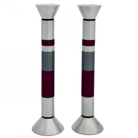 Silver and Purple Striped Shabbat Candlesticks by Caesarea Arts-shabbat candlesticks-AllThingsJewish.com