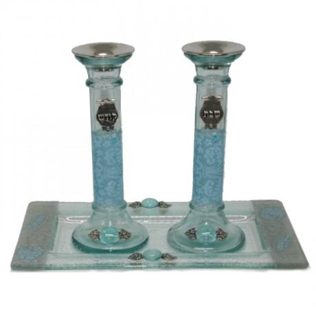 Sky Blue Pomegranate Shabbat Candlesticks with Tray by Lily Art-shabbat candlesticks-AllThingsJewish.com