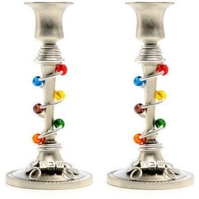 "Tall Pewter Candlesticks decorated with ""Shabbat"" by Jillery-shabbat candlesticks-AllThingsJewish.com"