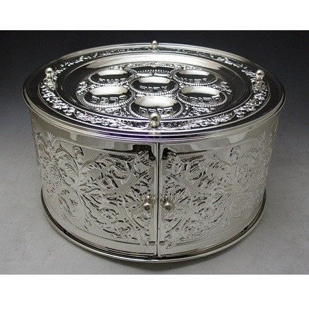 Three Tier Silver Plate Seder Plate-seder plate-AllThingsJewish.com